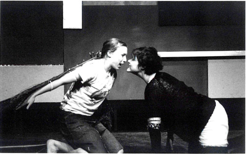 Judith Leopold and Jennifer Harris in Libby Emmons' Decomposition in Blue and White, directed by David Marcus